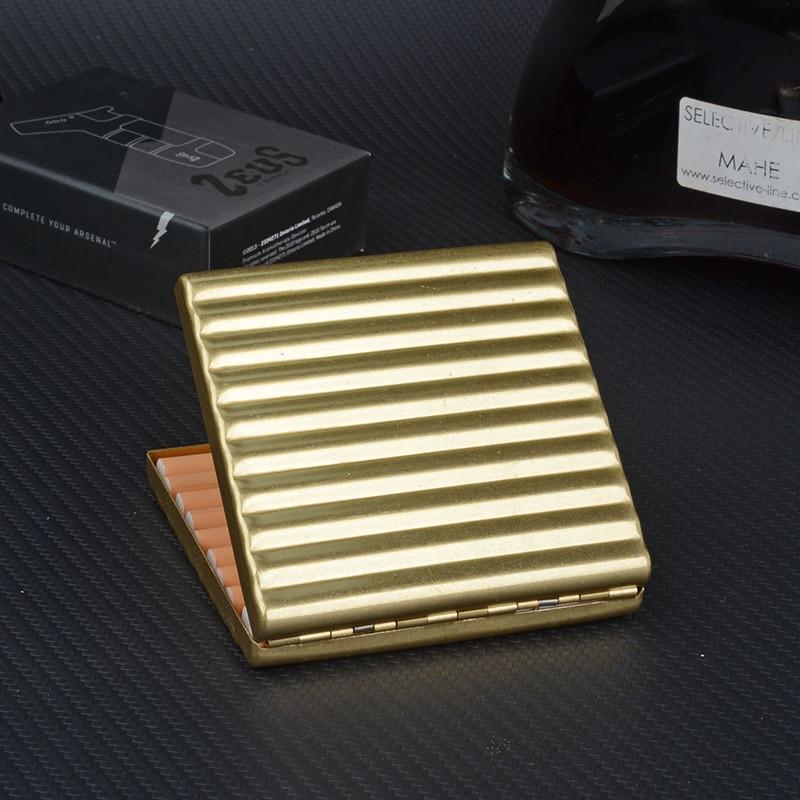 Caja de cigarrillos de cobre ultradelgada, soporte de Metal para cigarrillos, caja de tabaco Vintage para cigarrillos largos de 84mm, accesorio para fumar en venta