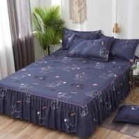 3pcs big dropping classic bedding set bed fold skirt pillowcase family lace anti slip beauty dust proof bedroom decor bed cover