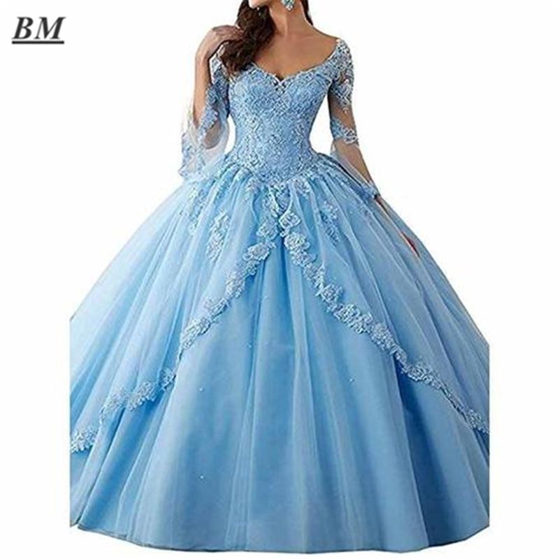 Бальное платье BM Quinceanera 2021, Пышное Бальное Платье с длинным рукавом, платья для выпускного вечера, розовое Тюлевое милое платье 16, бальное пл...