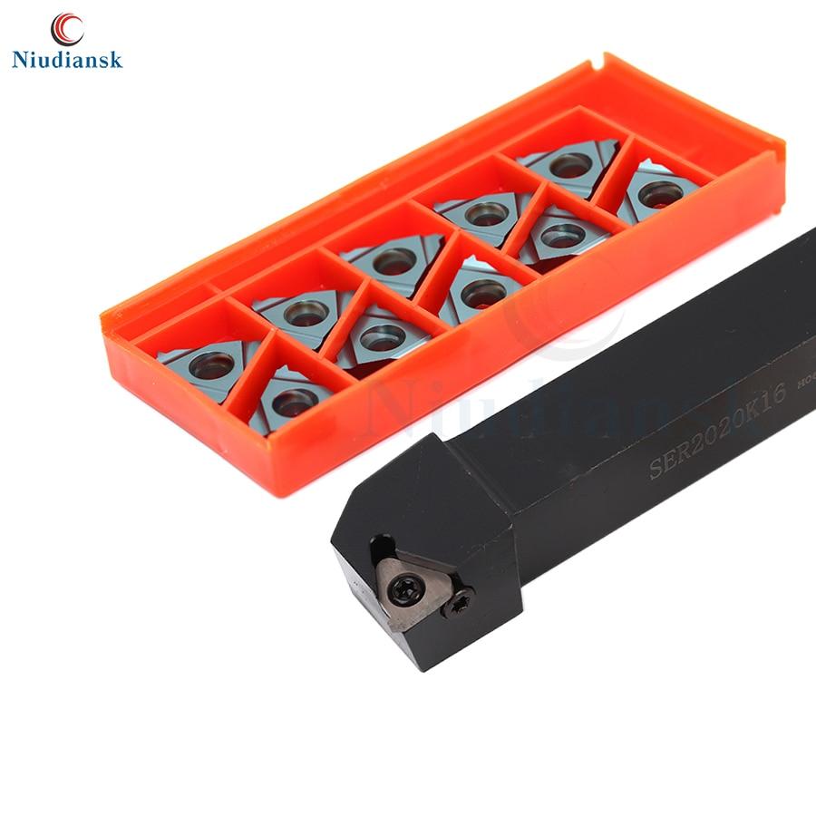1pc SER1212 SER1616H SER2020K16 SER2525M16 10pcs 16ER Suporte da Ferramenta de Viragem Rosca Externa 0.5 1.0 1.5 3.0 Pastilhas de Metal Duro ISO
