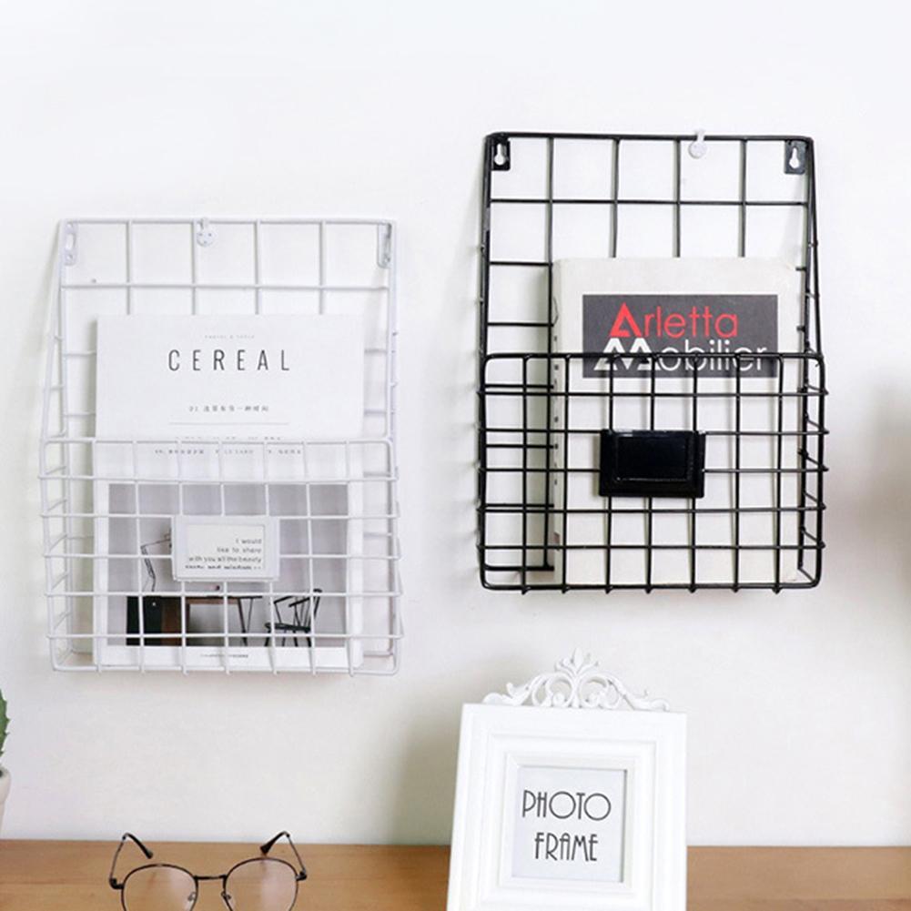 Wrought Iron Magazine Rack Innovative Simple Wall Decorative Rack Newspaper Document File Storage Shelf