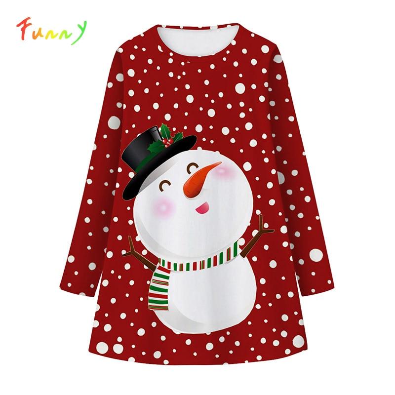 O Vestido da menina Traje Dos Miúdos Bonitos Da Criança Vestido de Manga Comprida 2019 Outono Inverno Roupas 8 Unicórnio Vestido de Festa Vermelho Do Natal Do Boneco de neve -12