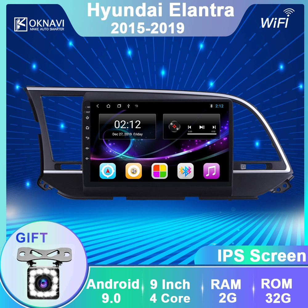 OKNAVI reproductor Multimedia de vídeo y Radio para coche Android 9,0 para Hyundai Elantra 2015 2016 2017 2018, navegación GPS 2 Din SIN DVD