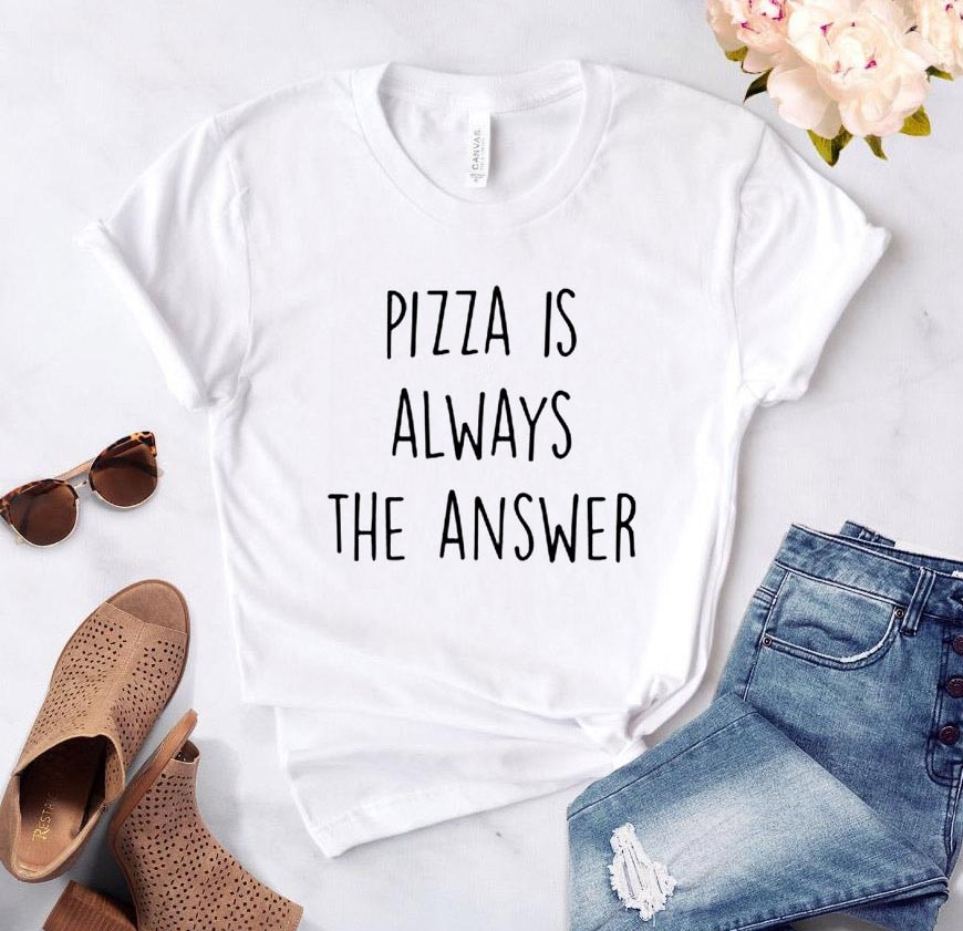Women T Shirt Pizza is Always the Answer Letter Print Tshirt Women Short Sleeve O Neck Loose T-shirt