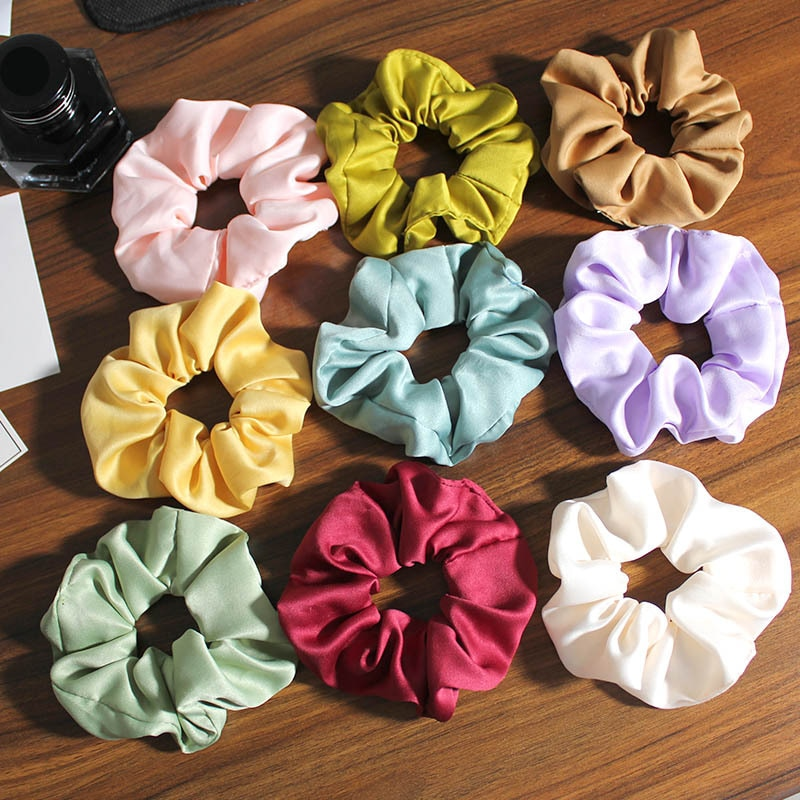 New Patterns Vintage Solid Color Hair Rubber Bands Brief Designs Cotton Scrunches For Women Daily Use Matt Satin Fabric Hair Tie