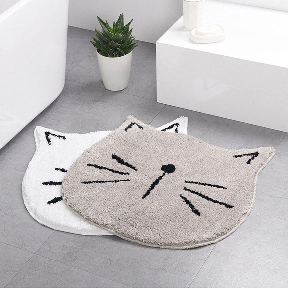 Alfombrilla para suelo en forma de gato gris de piel suave bonita, alfombra antideslizante para la cocina, alfombrilla para cuarto de baño, alfombra antideslizante con absorción de agua, felpudo del porche