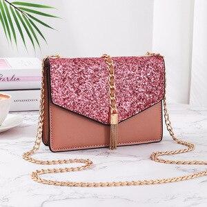 Female Mini Shoulder Bag 2021 Trend Luxury Tassel Sequins Chains Cute Casual Fashion Elegant Evening Messenger Crossbody
