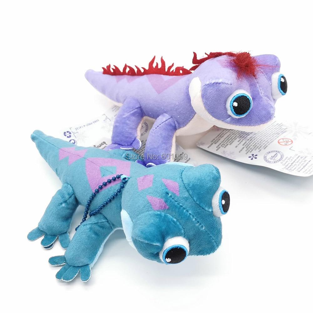 Elsa Anna Princess Bruni Salamander Purple Blue lizard 15CM Plush Keychain Pendant Toy ZYTJ