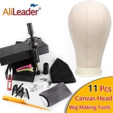 AliLeader meilleur 11 pièces Kit de fabrication de perruque Mannequin toile perruque dôme tête avec support Spandex dôme casquette toile bloc tête Mannequin tête