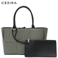 cezira fashion woven design canvas tote bag for women simple top handle bags female casual large shoulder handbag with zip purse