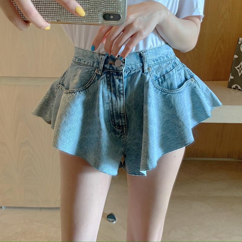 Verão scalloped denim quente shorts feminino casual praia solta shorts bonito cintura alta jean shorts