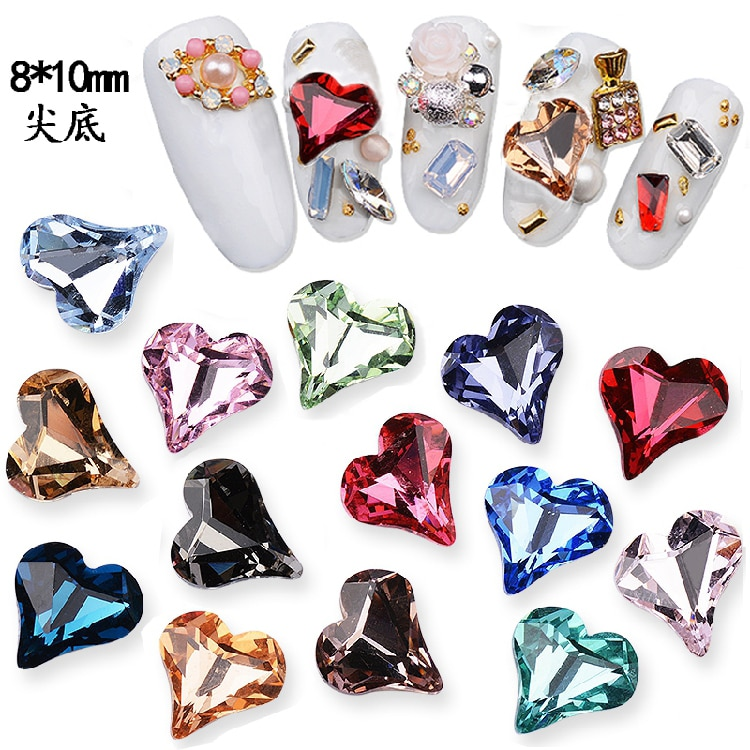 10 piezas de uñas japonesas, Diamante de imitación inferior, 8X10mm Diamante de imitación de corazón, diamantes de imitación con forma de diamante de cristal K9
