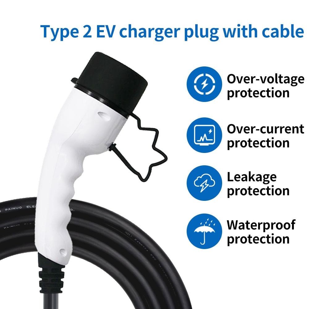 Adaptador de enchufe para coche, Conector de carga lateral, EVSE, con cable...
