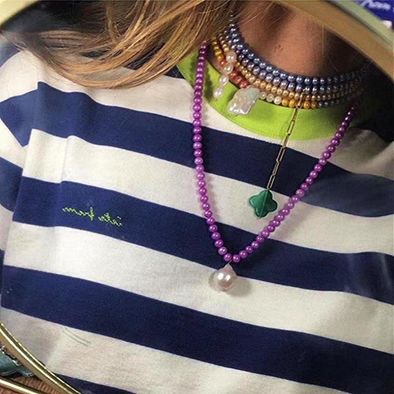 Alibaba aliexpress, venta al por mayor, collar de perlas barrocas de agua dulce de color púrpura nacarado bohemio atemporal, collar para mujeres vsco