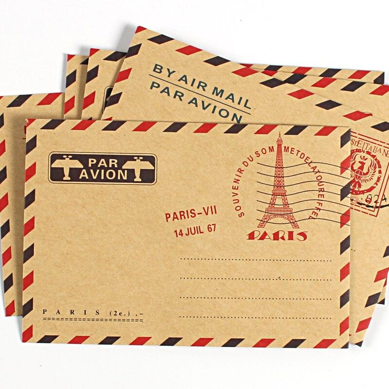 10 pçs/pçs/set do vintage kraft papel envelopes para convites de negócios cartão postal carta carteira envelope para presente correio aéreo papelaria
