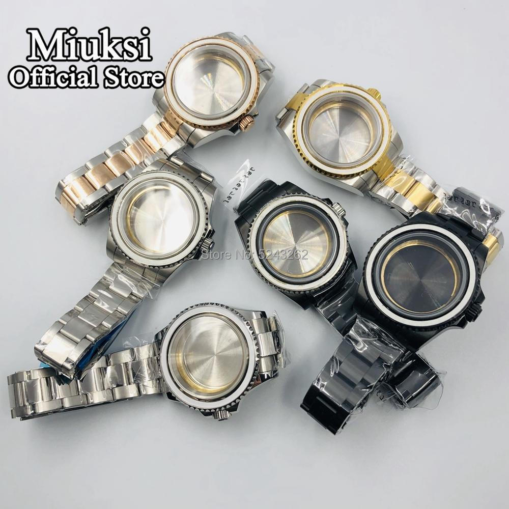 Miuksi 40mm case sapphire glass stainless steel watch case fit for NH35 NH36 ETA 2836 Mingzhu DG2813/3804 Miyota 8205 8215 821A enlarge