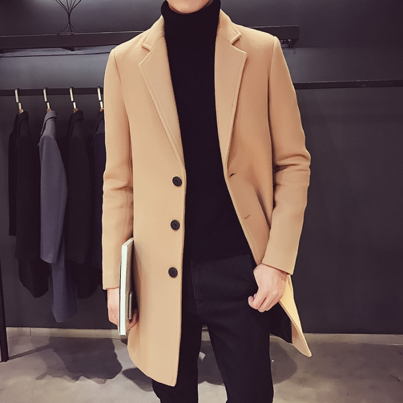 2021 Fashion Men Wool & Blends Mens Casual Business Trench Coat Mens Leisure Overcoat Male Punk Styl