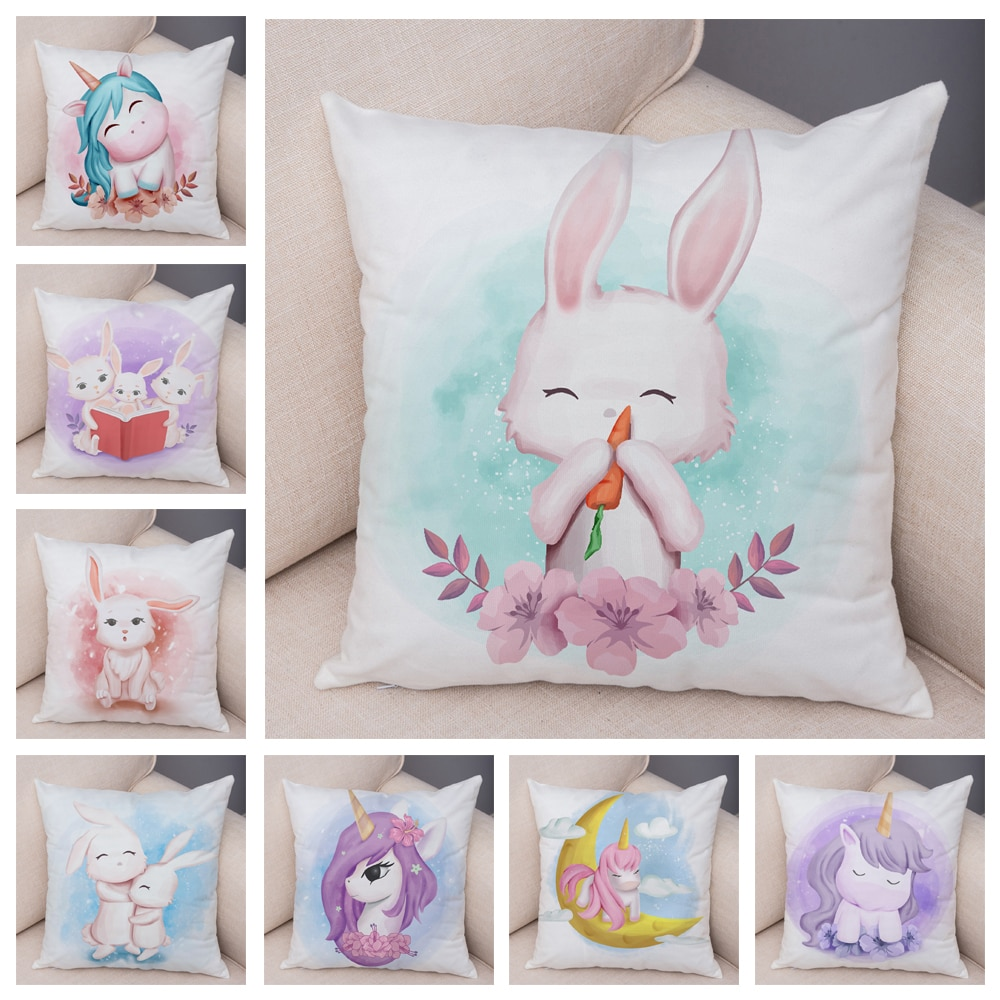 Soft Plush Lovely Cartoon Unicorn Rabbit Pillow Case for Children Room Sofa Decor Cute Animal Cushion Covers Pillocase 45X45CM