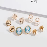 cute temperament simple stud earrings for women girls fashion vintage classic gold pearl blue while earrings handmade jewelry