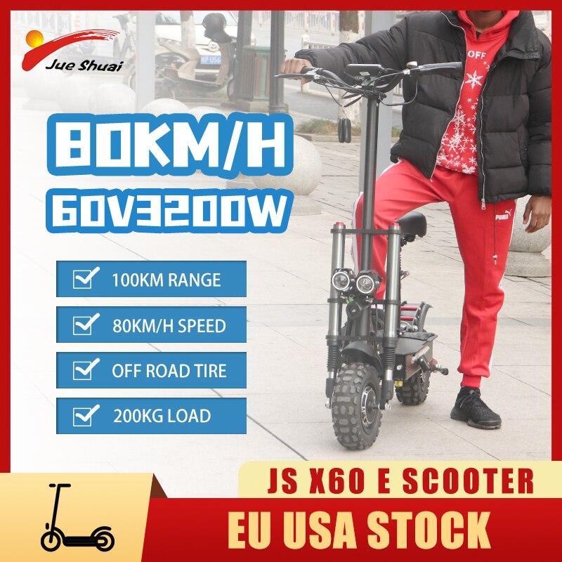 Patinete eléctrico plegable para adultos, scooter de doble Motor de 60v y...