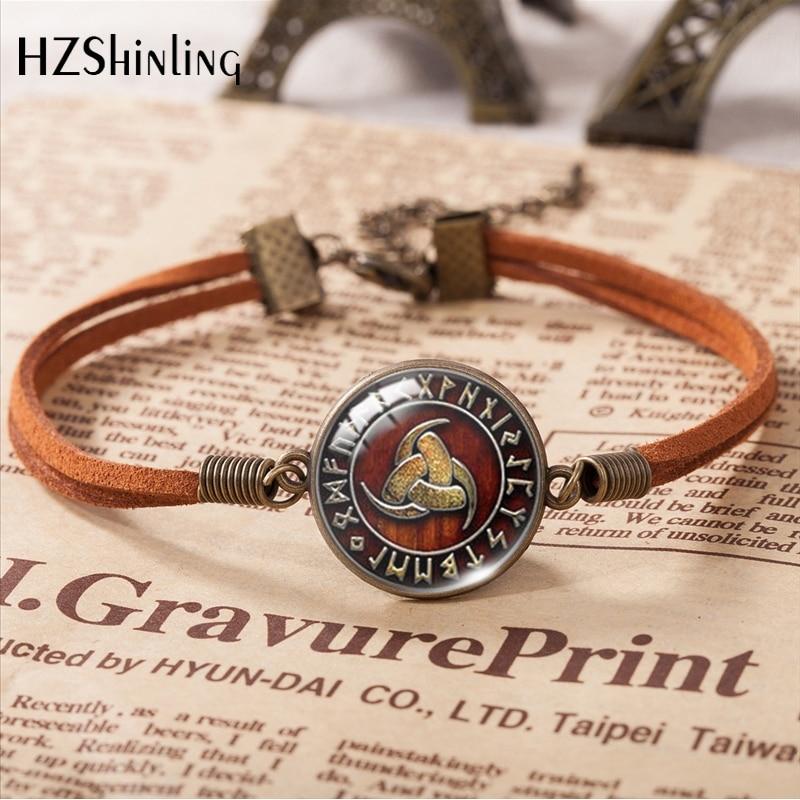 2019 New Fashion Vintage Triple Horn of Odin Viking Leather Bracelet Round Glass Dome Pendants Bangle Bracelet Trendy Jewelry