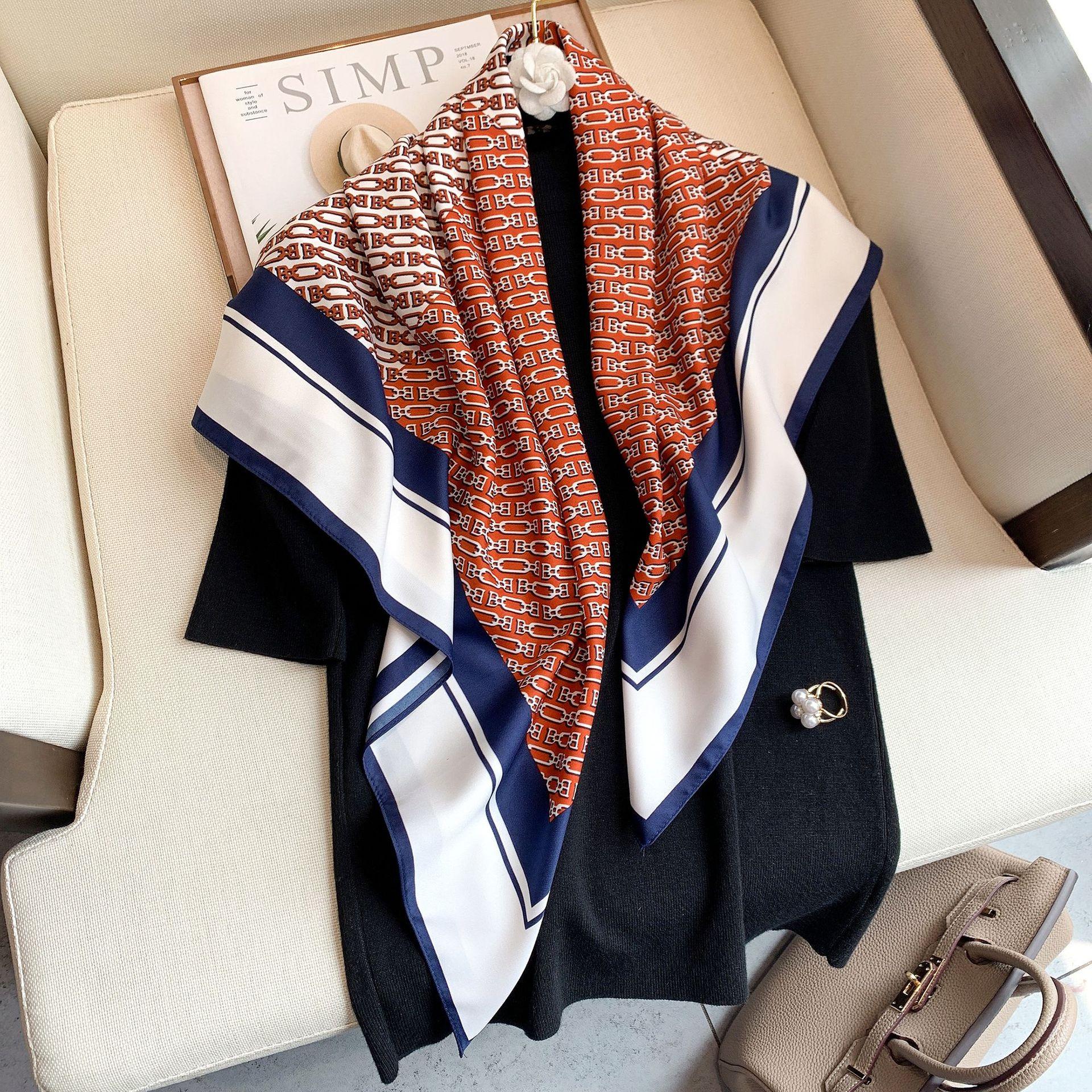 2021 Designer Women Silk Scarf Square Bandana Design Brand Headband Female Satin Hijab Shawl Wrap Ke