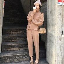Casual camisola calças de malha 2 peças conjunto gola alta pullovers & cintura elástica calças femininas conjuntos de camisola 2019 outono conjunto de malha