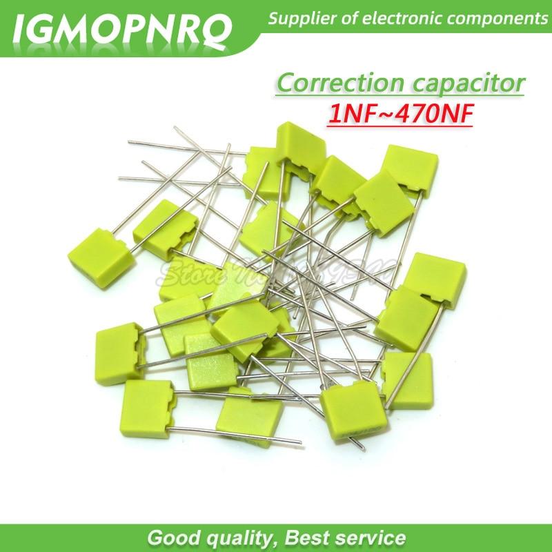 20pcs Polypropylene Safety Plastic Film 100V 1nF ~ 470nF 100nf 220nf 10nf 47nf 22nf 1nf 0.47uf 0.1uf Correction capacitor