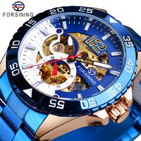 Forsining Mens Wristwatch Mechanical Automatic Waterproof Man Clock Blue Stainless Steel Fashion Luminous Hands Skeleton Watches