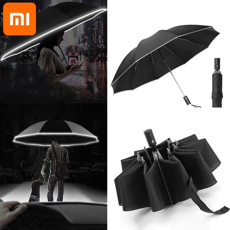 Складной автоматический зонт для Xiaomi, портативный зонтик от солнца и дождя, с защитой от ветра, для путешествий