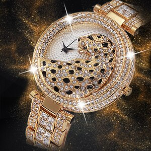 300PCS  Women Quartz Watch Fashion Bling Casual Ladies Watch Female Quartz Gold Watch Crystal Diamond Leopard For Women Clock