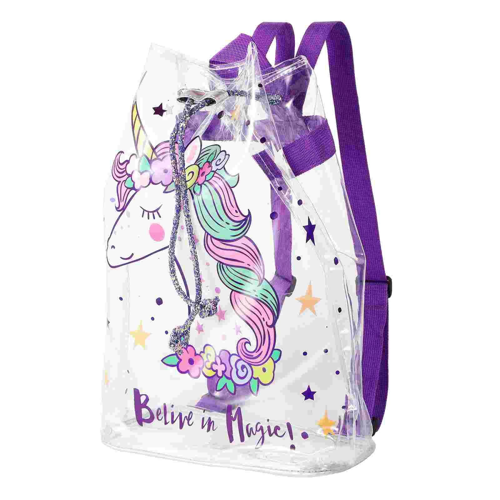 TENDYCOCO прозрачный рюкзак из ПВХ, мультяшный Цветочный рюкзак (фиолетовый)