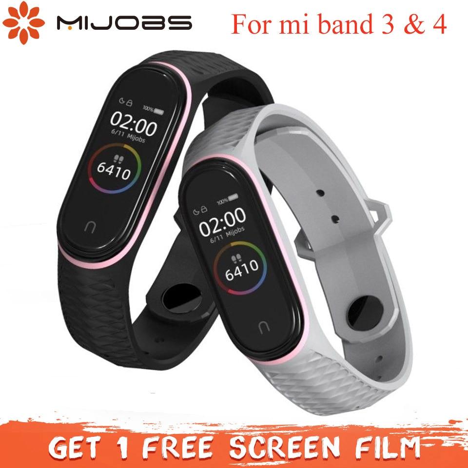 Mijobs, correa de silicona Mi Band 3, Correa deportiva Aurora para Xiaomi Mi band3, pulsera inteligente, reloj Miband, pulsera con 4 correas