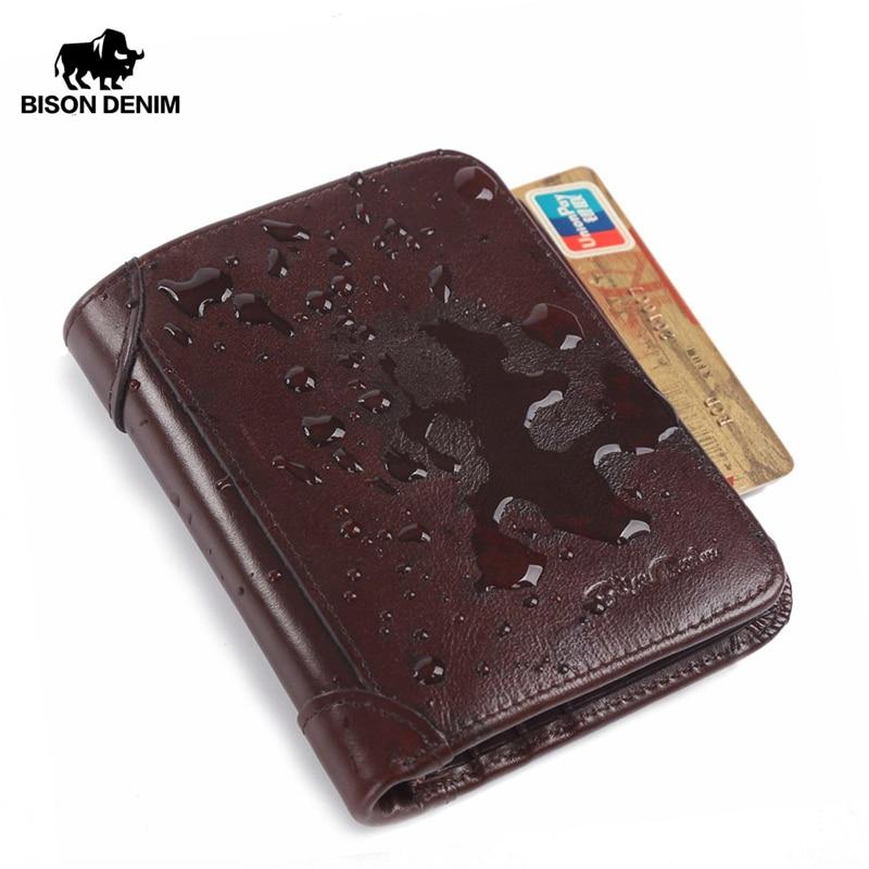 البيسون الدنيم جلد طبيعي تتفاعل المحفظة الرجال الأحمر البني خمر محفظة الرجال محافظ حامل بطاقة تجارية الدولار الأسعار ذكر محفظة W4361