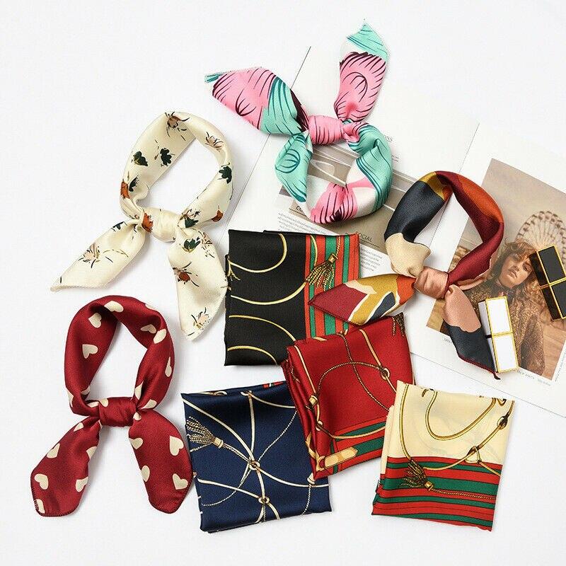 Pañuelo de seda para mujer, de satén, pequeño, Vintage, con lazo para el pelo, pañuelo cuadrado para la cabeza, para oficina, Hotel, camarero, azafatas, pañuelo