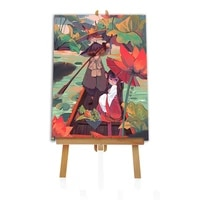 fox boatman picture diy painting by numbers anime colouring zero basis handpainted oil painting unique gift home decor
