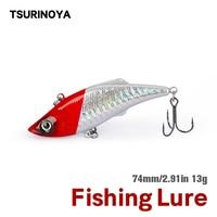 TSURINOYA 74mm 13g VIB Fishing Lure DW05 Bass Sinking Hard Baits Full Swimming Layer Lipless Winter Pike Fishing Tackle Wobbler