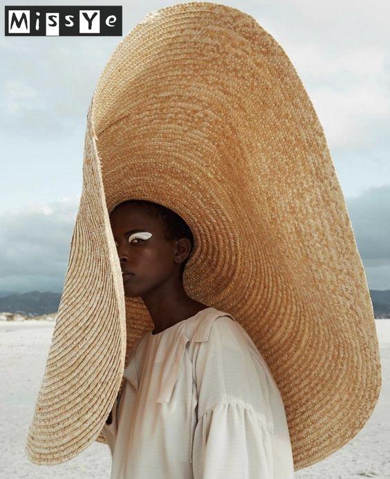 Sombrero de Sol de 80cm de tamaño europeo y americano para aleros, sombrero de viaje para vacaciones junto al mar, protector solar, sombrero de paja plegable para playa, casquete