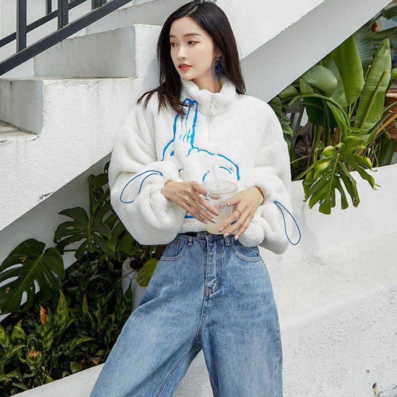 XUXI 2020 Korean Women's Shorts, Sweatshirt With Leather Bag, Printed With White Rabbit Pattern Collar Zipper, Sweatshirt FZ0973