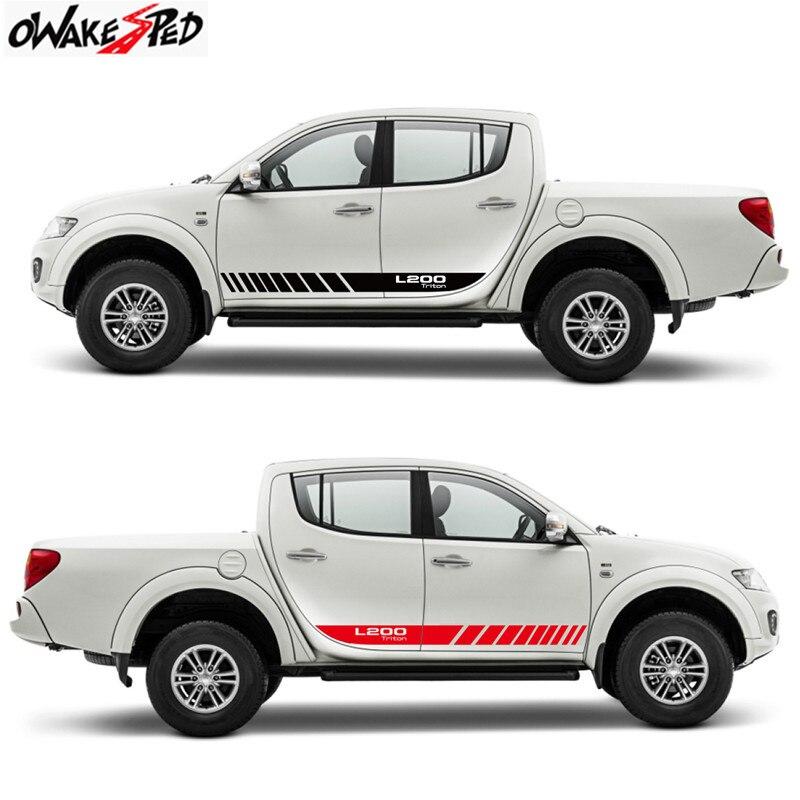 2 uds. Pegatinas de rayas laterales para puerta de coche para Mitsubishi-L200 Triton Auto Sports DIY, pegatinas de vinilo con estilo, accesorios de personalización de automóviles