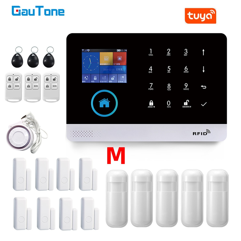 GauTone PG103 Alarm System for Home Burglar Security 433MHz WiFi GSM Alarm Wireless Tuya Smart House App Control