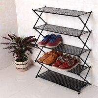 Iron folding shoe rack home creative four five six layer storage multi-layer simple simple modern living room door shelf