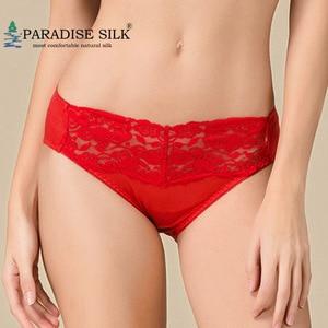 Women Panties 100% Pure Silk Knit Women's Lace Front Low Rise Panties Health Underpants Size M L XL