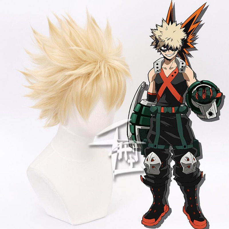 My Hero Academia Baku No Hero Bakugou Katsuki Bakugo Short Linen Blonde Heat Resistant Cosplay Costume Anime Wig