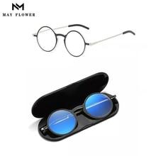 May Flower Frame occhiali da vista per donna occhiali da lettura per uomo anti-blu chiaro con custodia montatura per occhiali da donna óculos de grau + 4