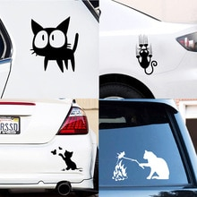 Cartoon Cat Car Sticker Butterfly Car-styling Funny Cat Car Stickers Decals Removable Decoration Car