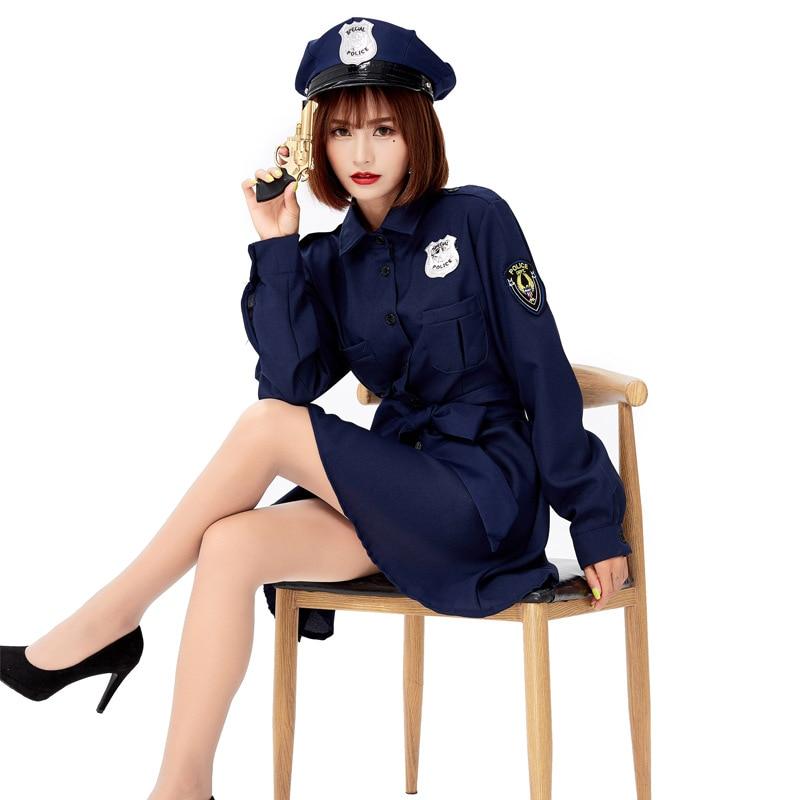 Envío Gratis azul adulto mujer chica policía disfraz mujer Fancy vestido Cosplay disfraces de Halloween
