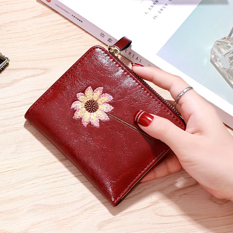 Wallets for Women Simple Cute Small Zipper Wallets Floral Mini Coin Purses Short Small Fold PU Leather Credit Card Holders 2021