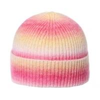 autumn winter tie dye knitted hats for women winter wool warm striped skullies beanies men casual hip hop caps gorras hombre