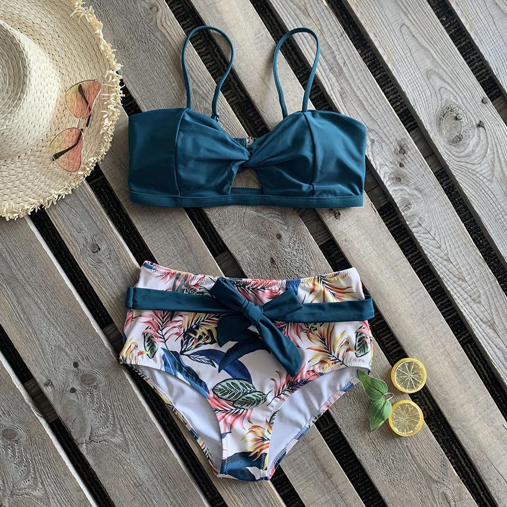 Bikini Sexy para mujer, traje de baño 2020, Bikini de cintura alta, traje de baño ajustado, ropa de playa, Biquini estampado de hojas para mujer XL